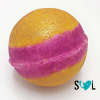 Exotic Love Shimmering Bath Bomb- Valentine's Day Bath Bomb- Jumbo Bath Bomb- Pink, Yellow, Gold Bath Bomb, Limited Edition Valentine Gift