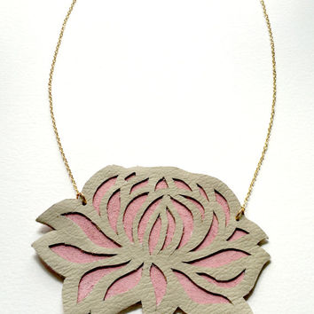Tan & Pink Lotus Genuine Leather Necklace