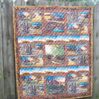 Quilted Wall Hanging, Farm Scene, Fall Quilted Wall Hanging, Patchwork Quilted Wall Hanging