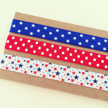 SALE Red, White + Blue Headband Set // Red, White + Blue Stars Elastic Headbands for Baby, Toddler, Kids + Adults, Fourth of July Headbands