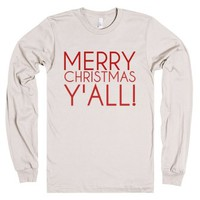 Merry Christmas Y'all!-Unisex Natural T-Shirt