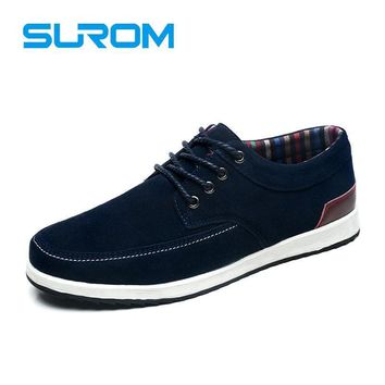 SUROM Men's Leather Casual Shoes Autumn Krasovki Luxury Brand Shoes Men Loafers Adult