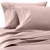 Solid Blush 600 Thread Count Queen Size Sheet Set, 100% Egyptian Cotton Deep Pocket Bed Sheets 600TC.