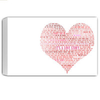 Romantic Word Art on canvas Large Typography Grunge 24x36 OOAK gallery wrapped canvas