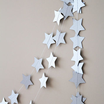 Paper garland, star garland, wedding garland, holidays decor, christmas garland, holidays garland, new year christmas decor for home silver