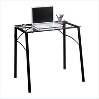 Sauder Beginnings Desk in Black and Clear Glass - 412756