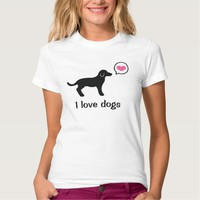 Black Dog With Pink Heart And I Love Dogs Text T-Shirt