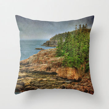 Looking Out to Sea Photo Pillow Cover Acadia National Park Ocean Beach Otter Cliffs Nautical Maine Lake House Decor Nature Landscape