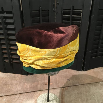 Vintage Leslie James Ladies Hat, Ruth Hallin Exclusive, Brown Velvet, Green Velvet, Yellow / Gold Accent, Size 22 , Pill Box Hat