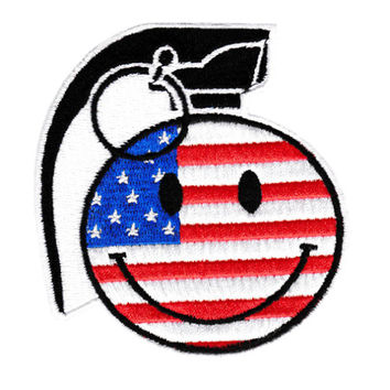 Cool USA American Happy Smiley Face Grenade Patch Badge 9cm