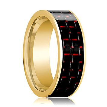Mens Wedding Band 14K Yellow Gold with Black & Red Carbon Fiber Inlay Flat Polished Design