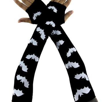 Vampire Bat Print Fingerless Elbow Gloves Arm Warmers Alternative Clothing Dracula