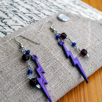 Purple Lightning Earrings Beaded Punk Jewelry