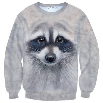 Realistic Raccoon Face All Over Print Unisex Pullover Sweater | Animal Themed Apparel