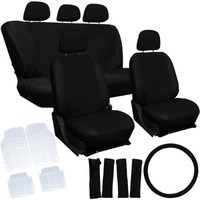 Oxgord 21pc Black PU Leather Seat Cover & 4pc Clear Ridge Rubber Floor Mats Set for Scion Cars