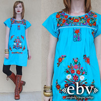 Vintage Mexican Dress Embroidered Dress Vintage Hippie Dress Vintage 70s Blue Mexican Embroidered Mini Dress XS S