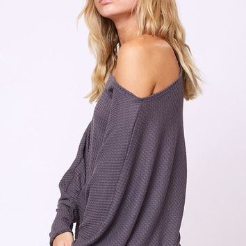 Batwing Off Shoulder Top - Charcoal