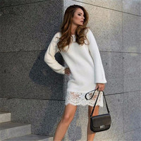 Lace Women Long Sleeve Round Necked One Piece Dress  _ 10317