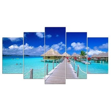 Island Beach Dock Resort Hut Modular Canvas Wall Print Picture for Living Room
