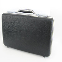 Vintage Briefcase Attache Case American Tourister Slim Hard Shell Side Chrome Black Retro