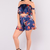 Hit The Tropics Satin Set - Navy