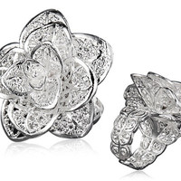 925 Sterling Silver Plated Stylish Adjustable White Copper Alloy Hibiscus Ring
