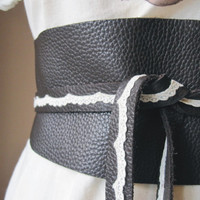Romantic Lace Brown Leather Obi Belt by TheButterfliesShop on Etsy
