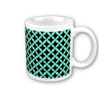 Mint Green And Black Seamless Mesh Pattern Mugs from Zazzle.com