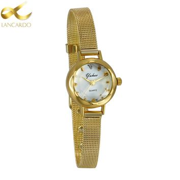 Mesh Band Gold Watch Women 2018 Quartz Brand Lancardo Ladies Watch Clock Women Luxury High Quality Relogio Feminino Wristwatch