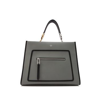 Fendi Shopping Bag Runaway Calf Leather Ice Gray with Black Trim 8BH343
