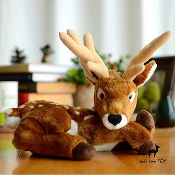 Male Deer Stuffed Animal Plush Toy 10""