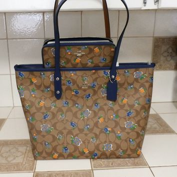 Coach City Zip Tote In Floral Logo Print Coated Canvas F57888 w/Matching Wallett