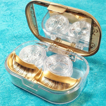 Eyelash and Contact Lens and Accessory Case Gold and Transparent Made in Japan