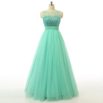 Green Tulle Ball Gown Beaded Prom Dresses Floor Length Backless Prom Dresses