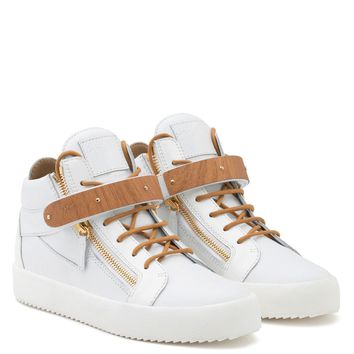 Giuseppe Zanotti Gz Kriss Wood White Calfskin Leather Mid-top With Patent Leather Insert