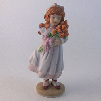 "Vintage Porcelain Figurine 1989 Enesco: ""Roses From Daddy""."