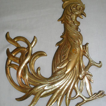 Vintage Syroco Hollywood Regency Gold Fighting Rooster or CRAZY CHICKEN rooster art wall hanging