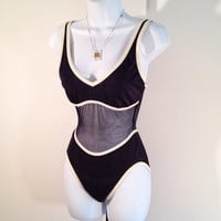 Bond Girl Bathing Suit - Black and Ivory Swimsuit - Swimsuit with Sheer Inset - FREE SHIPPING