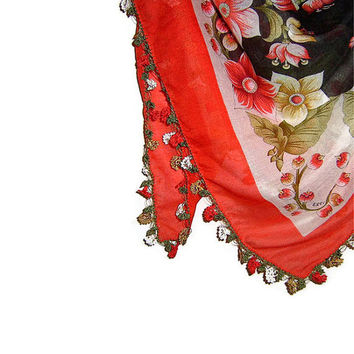 Traditional Turkish Yemeni Rayon (artificial silk) Scarf With Crocheted Lace, Red / White / Black Floral Pattern
