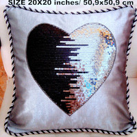 Sequin heart 20x20 pillow cover – Metallic piping pillow – Love gift
