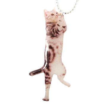 Realistic Grey Striped Kitty Cat Shaped Dangling Pendant Necklace | Handmade