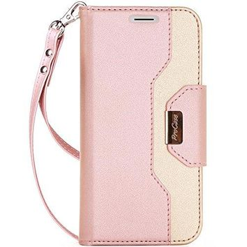 ProCase iPhone X Wallet Case, Flip Kickstand Case with Card Slots Mirror Wristlet, Folding Stand Protective Cover for Apple iPhone X/iPhone 10 (2017 Release) -Pink