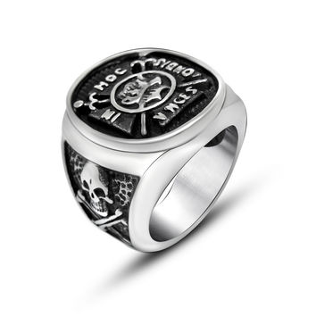 European style retro punk steel titanium pirate captain Skull Ring Jewelry metrosexual man essential SA791 316L stainless steel