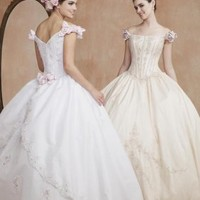 Ball Gown Off-the-shoulder Tea-length Satin Lace wedding dress for brides 2012 style(WDE0162) [WDE0162] - $216.99 :