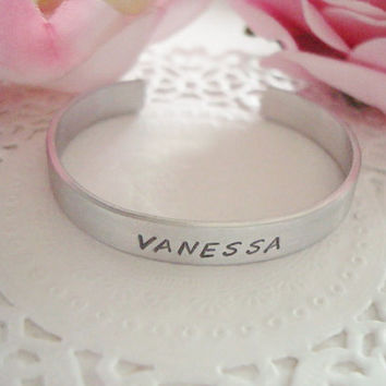 Name Of Your Choice Hand Stamped Cuff Bracelet Made To Order Child Size 5""