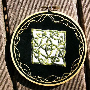 Hand embroidered Celtic knot