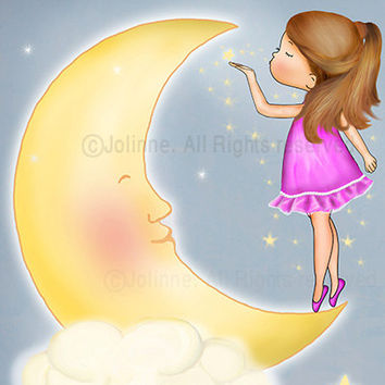 Baby Girl Art, Moon and Stars Wall Art, Kids Wall Art Print - Baby Nursery Art,Pink purple or light blue