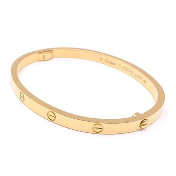 Authentic Cartier Love Bracelet SM Bangle Size#15 K18YG 750 Yellow Gold Used F/S