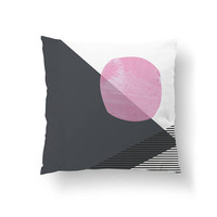 Pink Dark Gray, Abstract Shapes, Simple Art, Decorative Pillow, Pastel Decor, Throw Pillow, Cushion Cover, Mid Century Decor, Home Decor