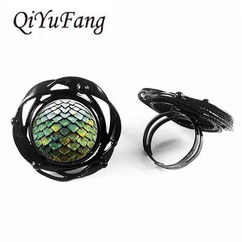 QiYuFang jewelry Game of Thrones Dragons Egg flower big ring doctor who 1pcs/lot mens vintage Steampunk glass 2017 charms